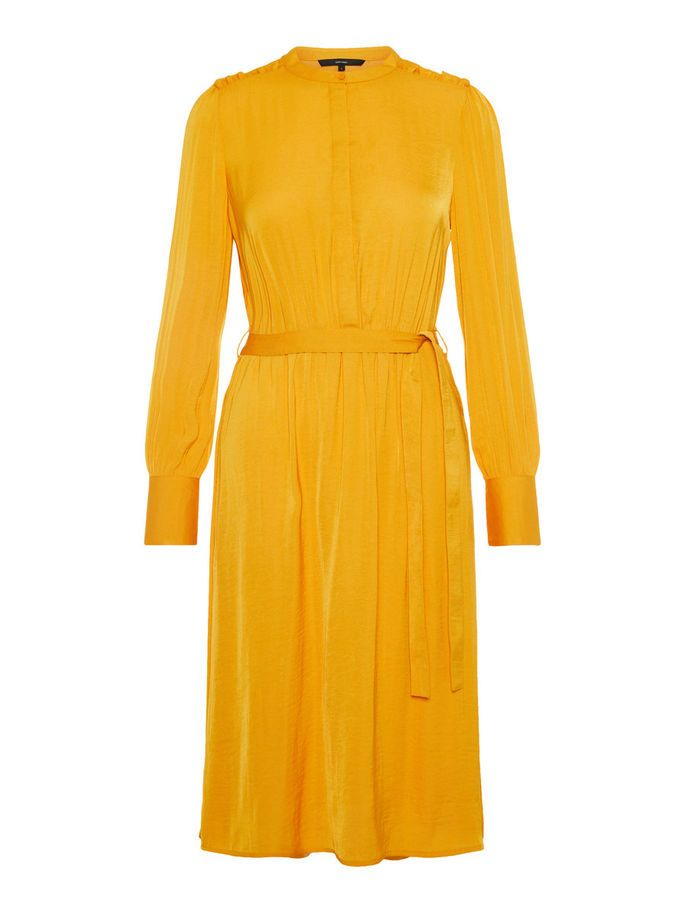 bcc23e82 Waist-belt dress with long sleeves. #veromoda | Things to Wear ...