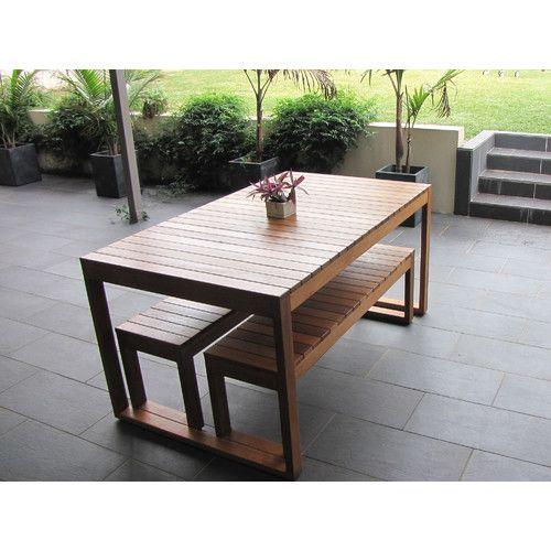 Beccali Furniture Exemplar 3 Piece Hardwood Outdoor Dining Set with Benches