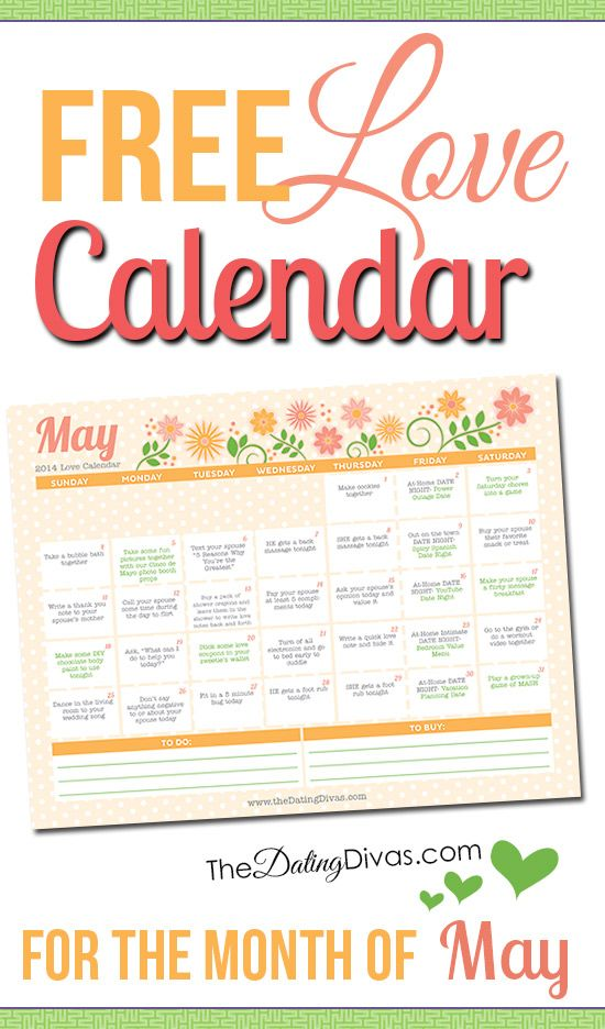 This is so cool! A FREE printable love calendar EVERY MONTH with a little love assignment every day. It even has links to date ideas and romance tips.