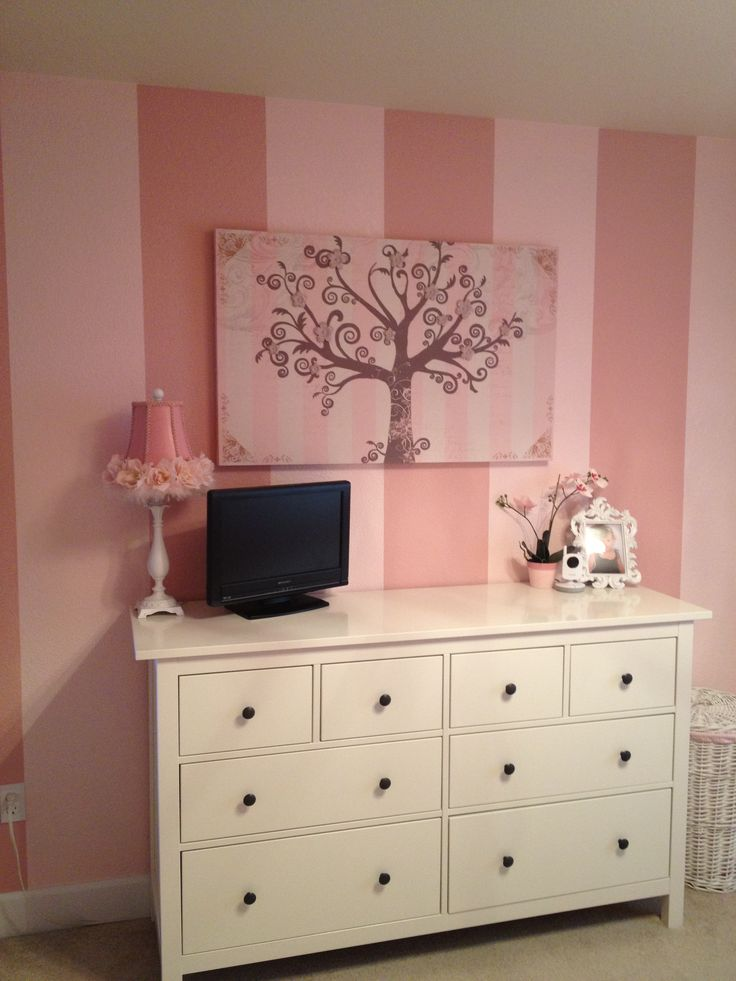 Pink Toddler Room Love The Striped Wall And Muted