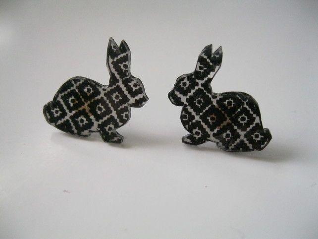 Hand Drawn Bunny Rabbit Earrings (pattern present drawing geometric aztec stud