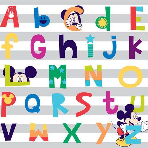 Färgglad fototapet med alfabetet och Musse Pigg från kollektionen Kids@Home 5, 70-592. Klicka för fler färgglada tapeter till barnrummet!