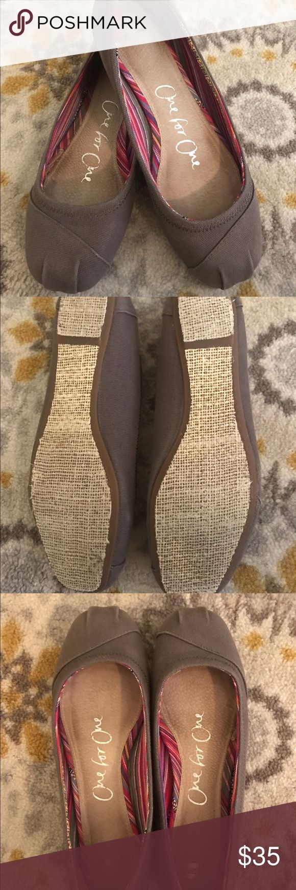 Toms one for one ballet flats Very cute TOMS one for one ballet flats, gray color, very little wear, in great condition. This is a re- posh, I purchased but the 8.5 is too large, I normally wear an 8 in TOMS so I consider this true to size, I just hoped they would fit, 😂. TOMS Shoes Flats & Loafers
