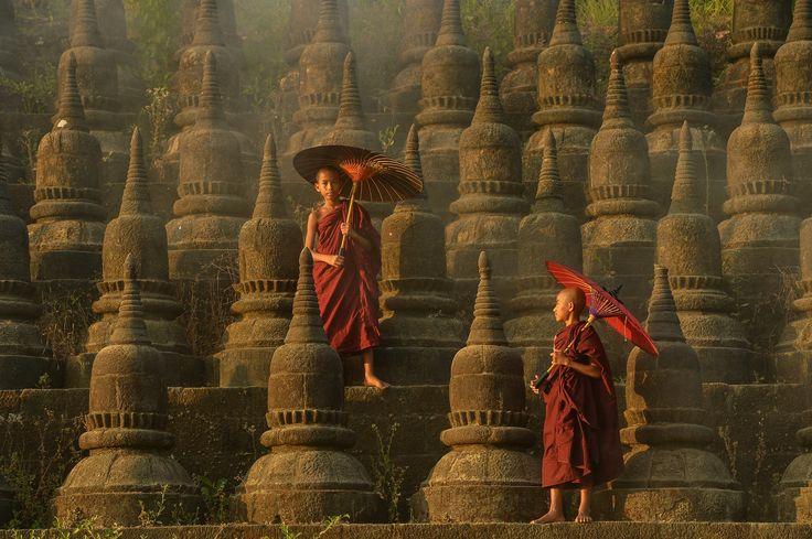 Ratanabon Paya ,Mrauk-u  Myanmar - The plain of mrauk-u Ratanabon Paya on during sunset,Mrauk-u, Myanmar