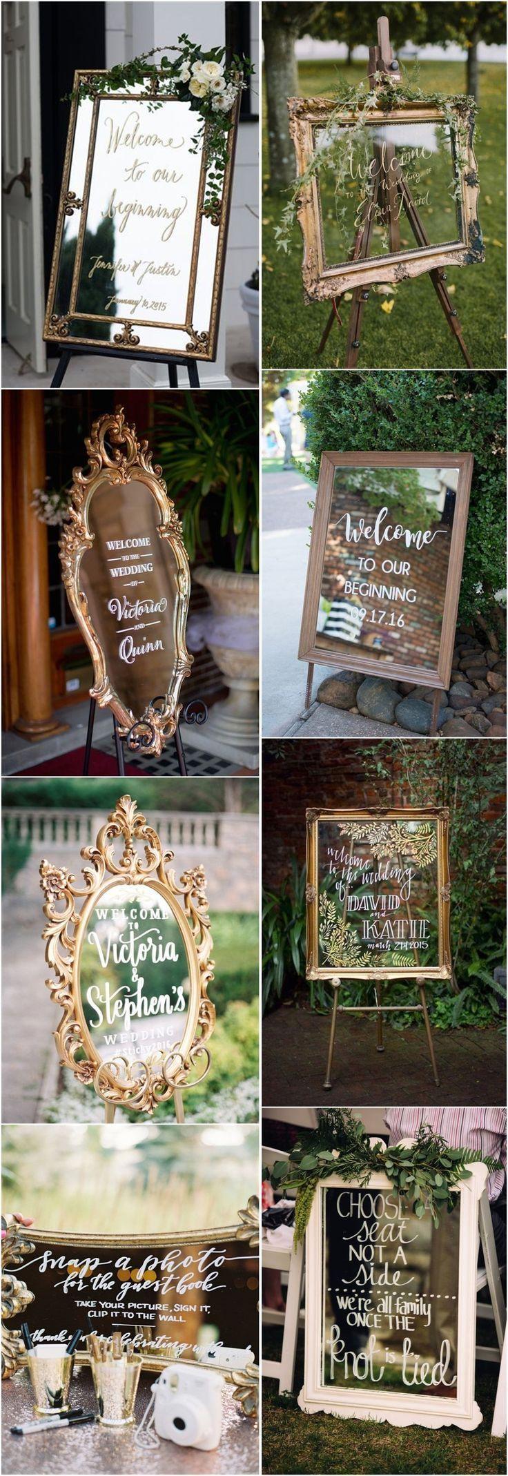Wedding Decorations » 27 Vintage Mirror Wedding Sign Decoration Ideas » ❤️…