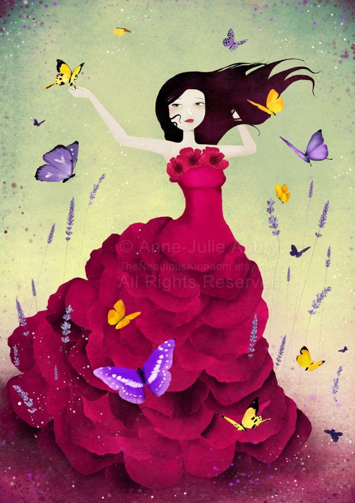 """Mariposa"" - illustration  © 2014  Anne-Julie Aubry -  www.annejulie-art.com - https://www.etsy.com/shop/TheNebulousKingdom"