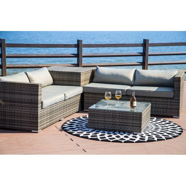 Vankirk 4 Piece Sectional Seating Group With Cushions Deep Seating Conversation Set Patio Seating Groups