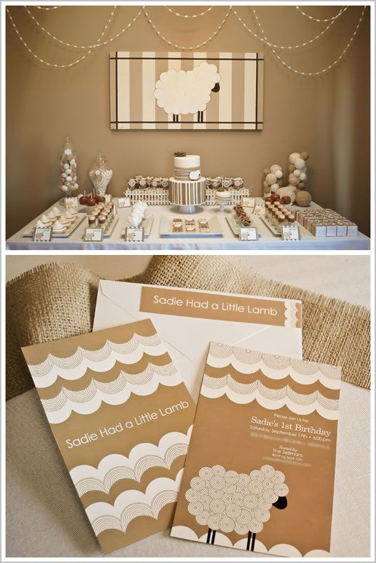 """Lovely Neutral Baby Shower - """"Sadie Had a Little Lamb"""" - whites, creams, light caramel, & chocolate brown with lots of fluffy, furry, wooly textures...anything & everything lamb related, including yarn, yarn, everywhere :)"""