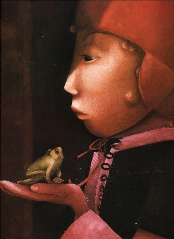 Boy & Frog - by Rebecca Dautremer - (illustrations, art, of children, kids)