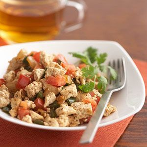 Poblano Tofu Scramble    This southwestern-style scramble is great for breakfast or a light supper. Don't skip the lime juice and tomatoes. They add a delightfully fresh note.    Carbs: 11 g per serving