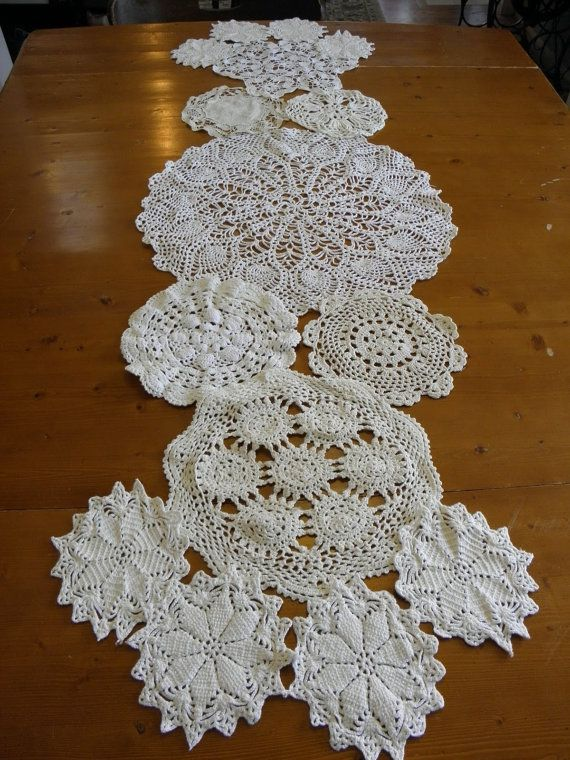 Custom Vintage Doily Table Runner  108  Inch Made to by sugarSCOUT, $78.00
