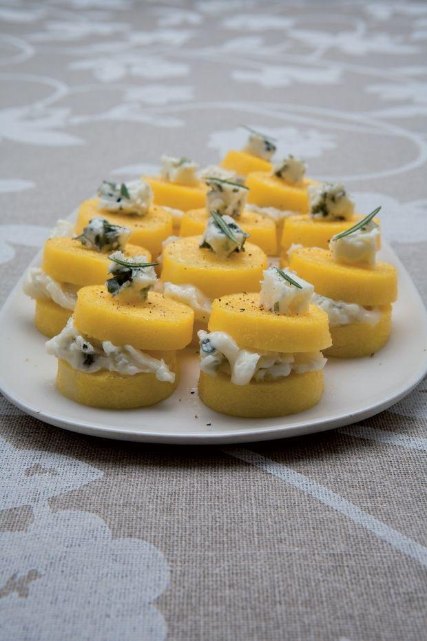 buoni!!!! Crostini di polenta al gorgonzola