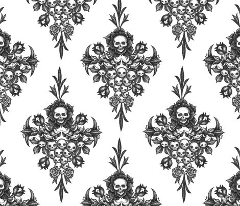 skullflower Damask - white fabric by jwitting on Spoonflower - custom fabric - GORGEOUS!