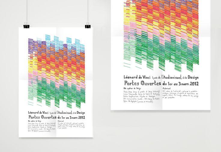 Création d'un visuel et d'une typographie pour l'affiche des journées portes ouvertes du lycée Léonard de Vinci.