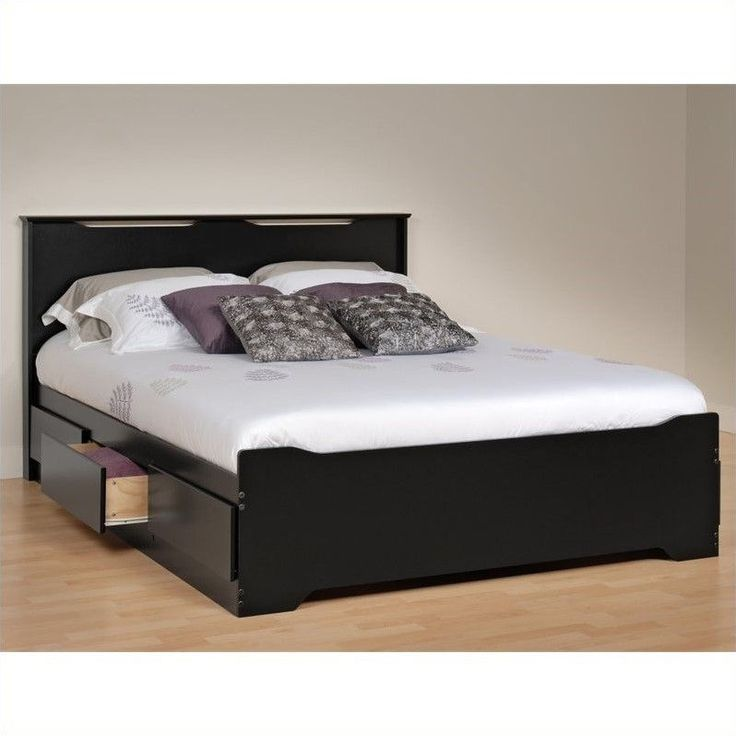 Prepac Coal Harbor Queen Platform 6 Drawer Storage Bed with Headboard in Black - BBQ-6200-3KV-KIT - Cymax