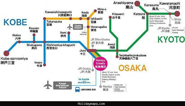 Deborah saved to tischnice Osaka/Kobe/Kyoto Map Tourist