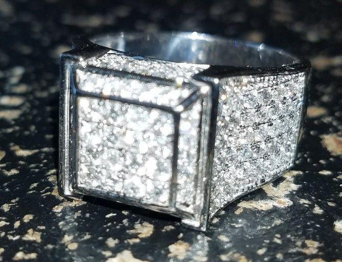 WHITE GOLD FINISH 4.00 CARAT MENS DIAMOND ENGAGEMENT WEDDING PINKY RING BAND #br925silverczjewelry #MensWeddingPinkyRing