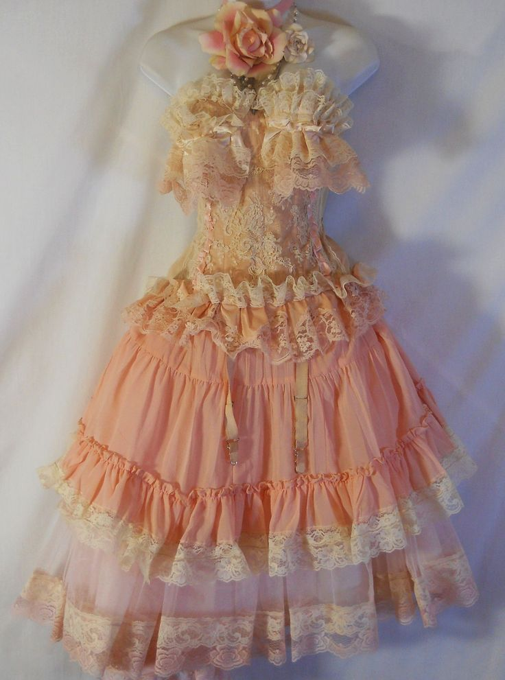 LOVE IT!!  Pink ruffle tutu skirt  tulle lace fairytale  bohemian lolita cosplay  medium  by vintage opulence on Etsy. $ 110.00, via Etsy.