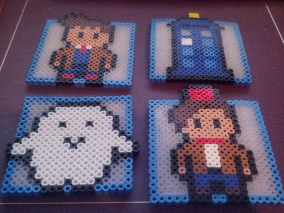 This set of 4 coasters is from Doctor Who and is great for any whovian. They are made out of perler beads and ready to add a little doctor who to any