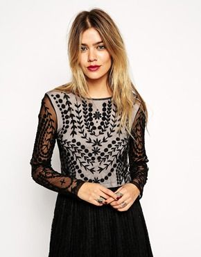 ASOS+Crop+Top+With+Long+Sheer+Sleeves+And+Embroidery