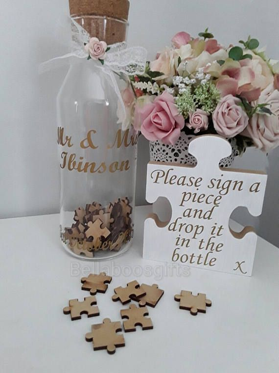 Wedding jigsaw puzzle jar jigsaw guest book jigsaw bottle