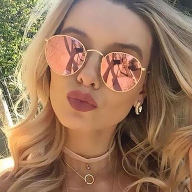 Round sunglasses ray ban-Round Sunglasses Women Retro Brand Designer Classic Rose Gold Steampunk Sun Glasses Men UV400 Rayed Mirror Female UV400