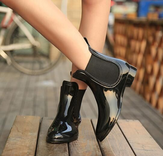 Womens Rain Boots Pull On Block Low Heel Waterproof Short Ankle Boots Shoes