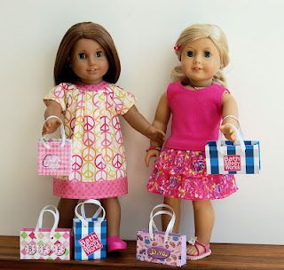 FREE - printable shopping bags for your American Girl Doll. These were so fun to make. We actually used them for real gift bags. They hold doll size shoes & clothes perfect. So if your giving doll size items as a gift, give it in a doll size bag!