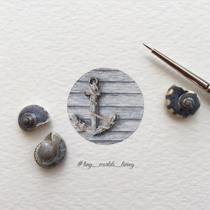 "1,749 Likes, 13 Comments - Irene Malakhova (@irene_mia_) on Instagram: ""Day 73/120 (19/30 #tiny_freedays series). ⚓️ diam 24 mm. -- #anchor #якорь #sea #dreams #art_daily…"""