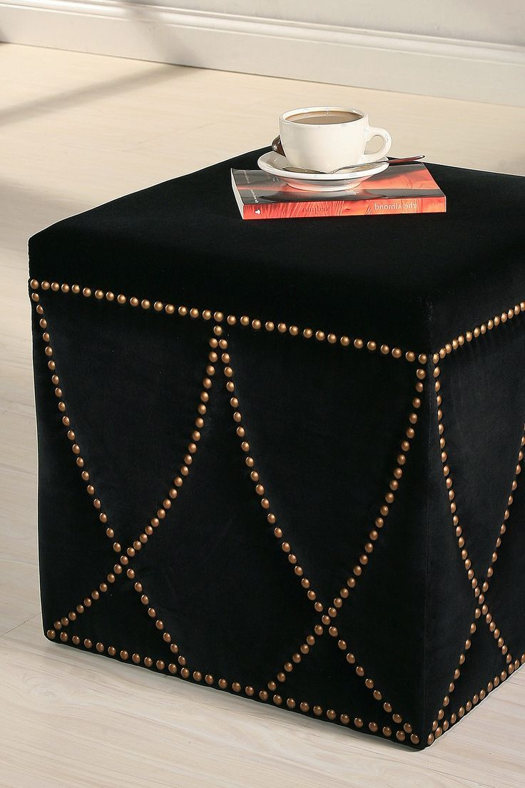 Best 25 black ottoman ideas on pinterest bedroom ottoman diy studded black ottoman in the living room this is how i will be drinking geotapseo Gallery