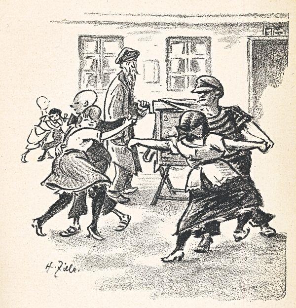 """HEINRICH ZILLE - Paule war mit seinen 13 Jahren schon zweimal vorm Jugendgericht, hat sich ne """"Brumme"""" rangelacht, die Pinkelfrida ist seine Braut, und wenn die Drehorgel ertönt, Paule tanzt, wie man in Berlin sagt, schon eine ganze """"kesse Sohle"""". Wie lange wird's dauern, und Paules Daumenabdruck ist auf dem Alexanderplatz. (am Alexanderplatz war damals das Polizeipräsidium)"""