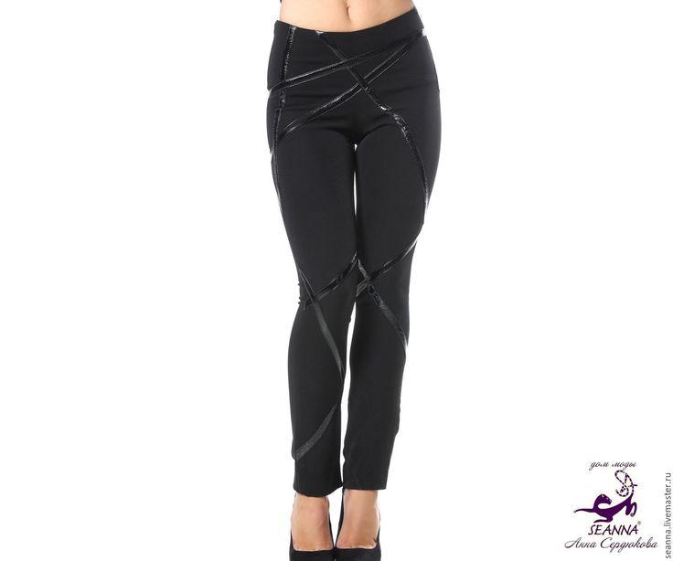 """Купить Очень эффектные брюки """"Лакэ"""" узкие, любой длины, на любой размер - чёрный"""