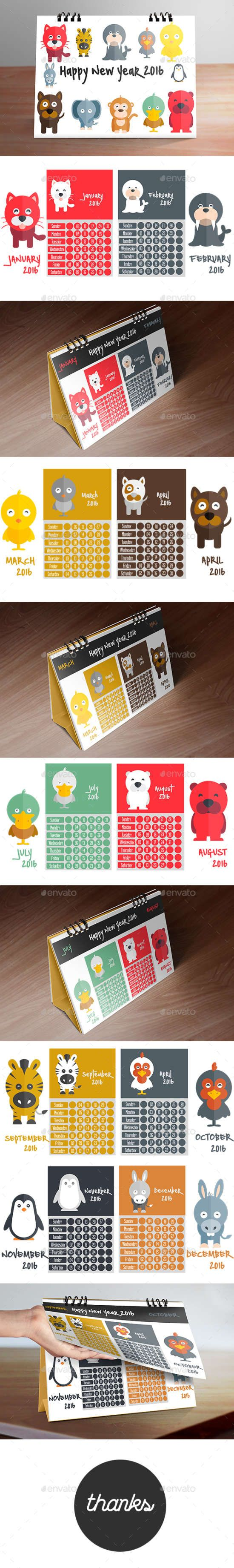 calendar 2016 (kid desk calendar designing)