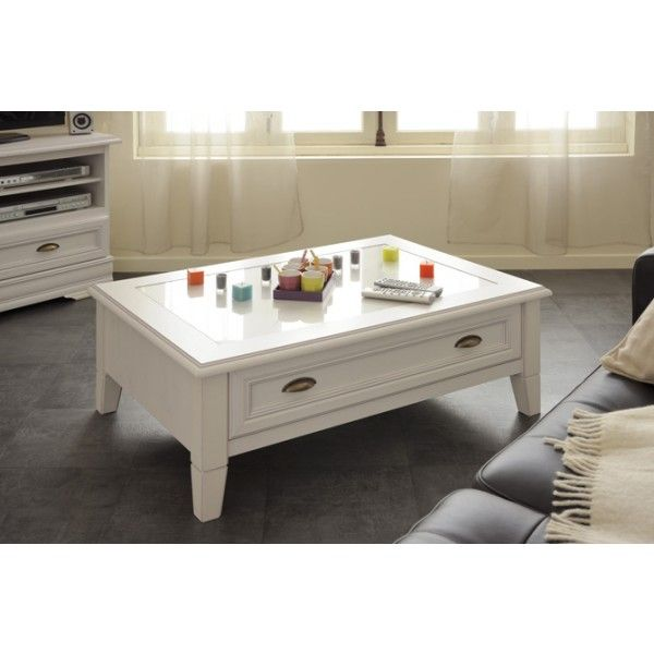 Parisot Elise Coffee Table - with handy storage drawer and beautiful whitewash pine finish