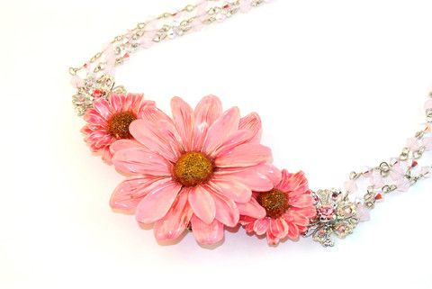 Daisy & Aster Crystal Necklace Sarah Blue real flower jewellery collections