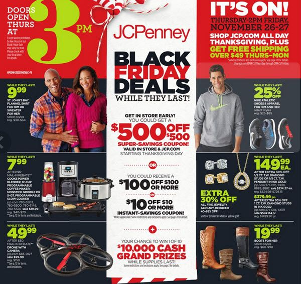 JCPenney has released its 2015 Black Friday Ad. The sale will begin on Thanksgiving Day at 3 pm.