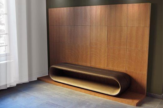 assise en cuir et bois - Compagnon du devoir Design By Didier VERSAVEL