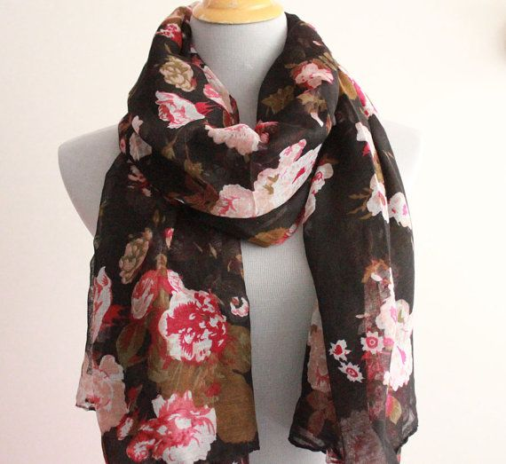 Black Flower Scarf Spring Floral Scarf Large by dailyaccessoriez