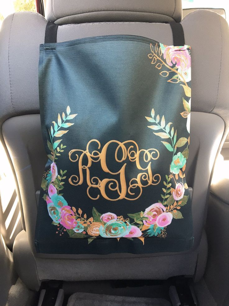 Monogrammed Car Trash Bag Car Organizer Custom Car Trash Can Mint and Gold Floral Classy Black Personalized Car Accessories Car Decor by ChicMonogram on Etsy