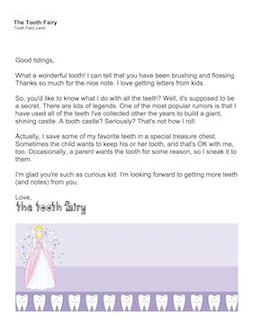 When your child starts asking what the Tooth Fairy does with all those tooth, you can surprise him/her with this special letter directly from the Tooth Fairy herself. Free to download and print