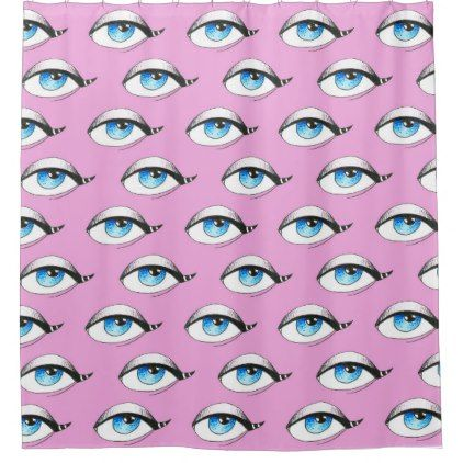 Blue Eyes Pattern Pink Shower Curtain - shower curtains home decor custom idea personalize bathroom