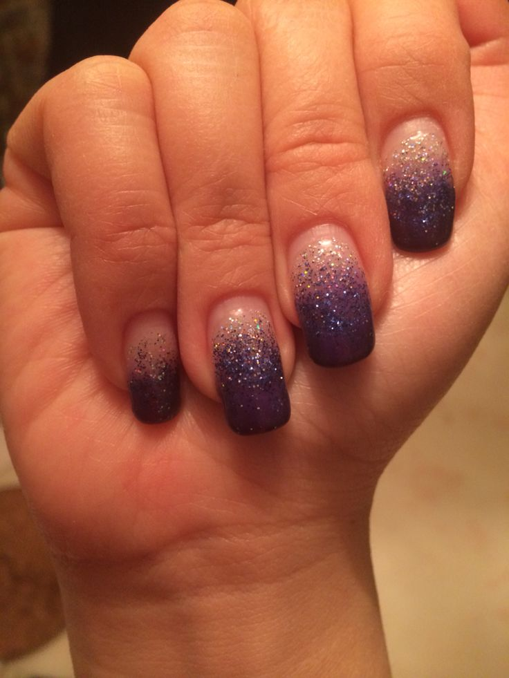 Purple ombre, glitter and gel nails