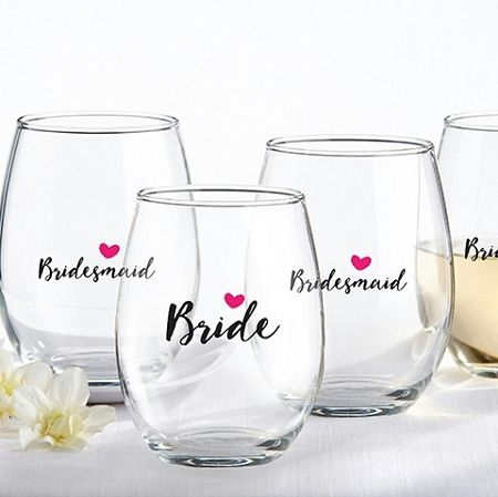 Bride and Bridesmaids Pink Heart 15 oz. Personalized Stemless Wine Glass. #glasswarefavors