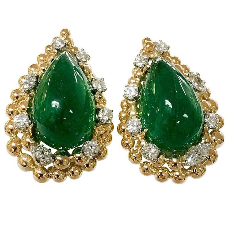 David Webb Emerald Diamond Gold Earrings | From a unique collection of vintage clip-on earrings at https://www.1stdibs.com/jewelry/earrings/clip-on-earrings/