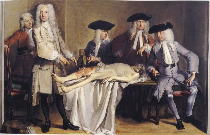 La lección de anatomía del Dr. Willem Roëll (Anatomische les van dr. Willem Röell ). Cornelis Troost. 1728. Localización: Amsterdam Museum (Amsterdam). https://painthealth.wordpress.com/2015/11/19/la-leccion-de-anatomia-del-dr-willem-roell/