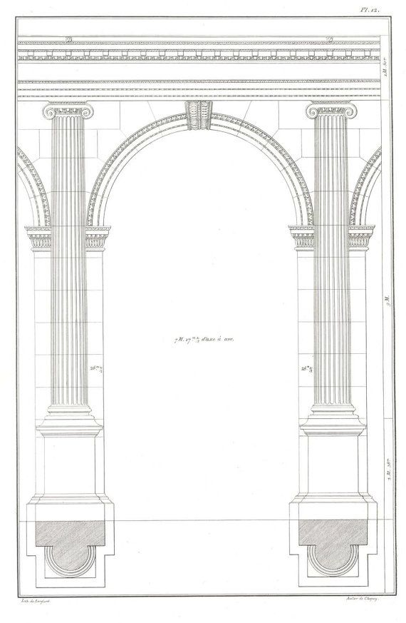 1842 Ionic  Portic Palladio  Antique Lithograph, Four Books of Architecture, Arch,  Pilaster, Plate 12
