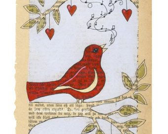 Red bird  -  Print -  Singing bird on branch - love the use of the old book page