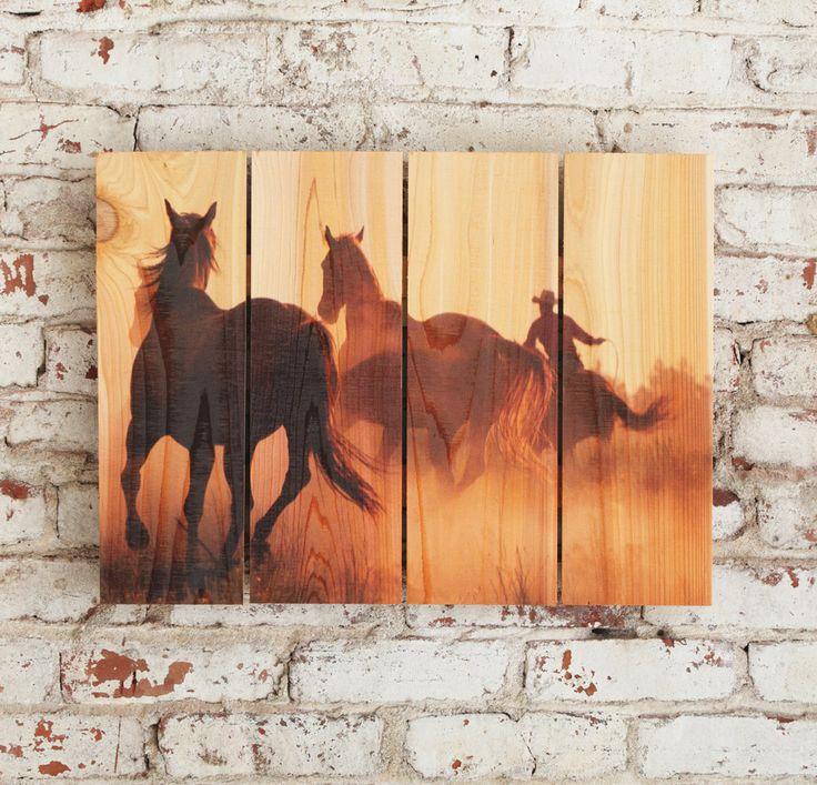 22x16 Cowboy Roundup Horses on Cedar Wall Hanging by DaydreamHQ