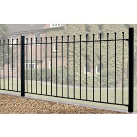 Buy Wrought Iron Style Ball Top Metal Fence Panel 183cm GAP X 91cm High  From Our