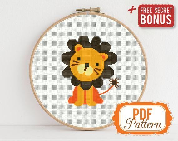 Lion Cub Cross Stitch Pattern Not a kit Detailed Photorealistic Design